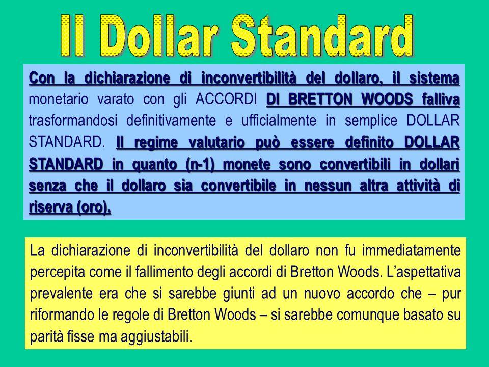 Con la dichiarazione di inconvertibilità del dollaro, il sistema DI BRETTON WOODS falliva Il regime valutario può essere definito DOLLAR STANDARD in q