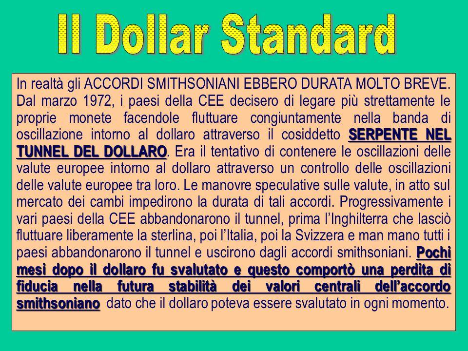 SERPENTE NEL TUNNEL DEL DOLLARO Pochi mesi dopo il dollaro fu svalutato e questo comportò una perdita di fiducia nella futura stabilità dei valori cen