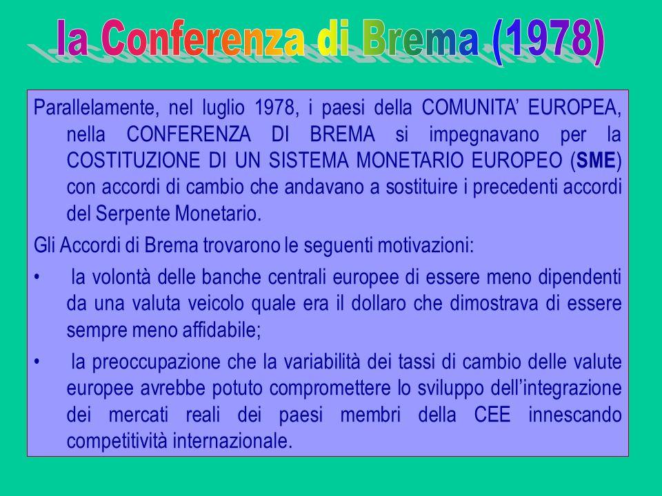 Parallelamente, nel luglio 1978, i paesi della COMUNITA EUROPEA, nella CONFERENZA DI BREMA si impegnavano per la COSTITUZIONE DI UN SISTEMA MONETARIO