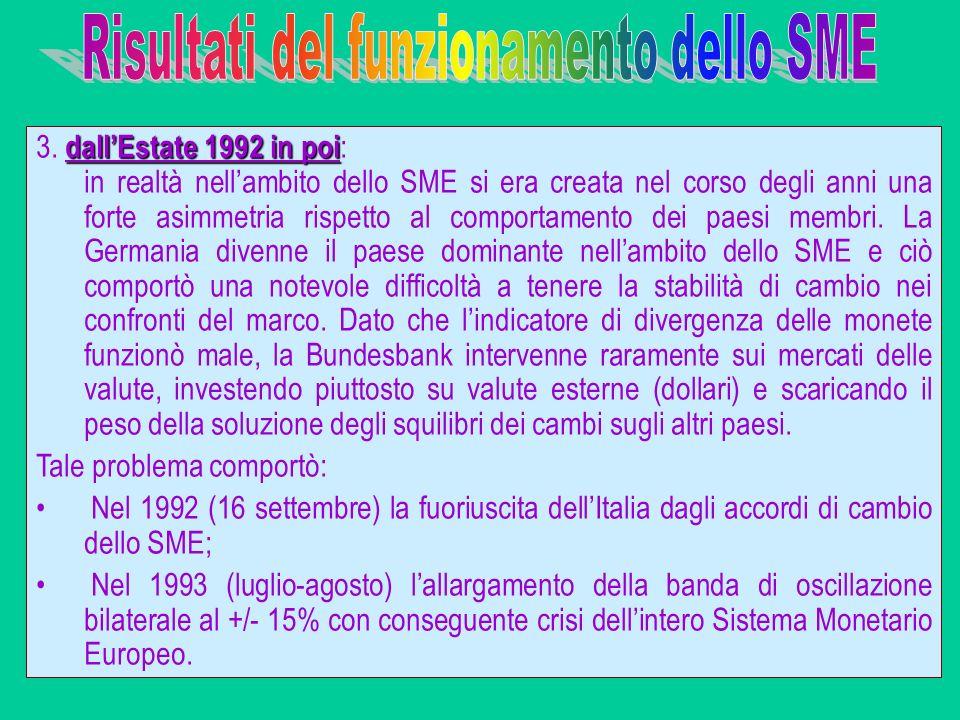 dallEstate 1992 in poi 3. dallEstate 1992 in poi : in realtà nellambito dello SME si era creata nel corso degli anni una forte asimmetria rispetto al