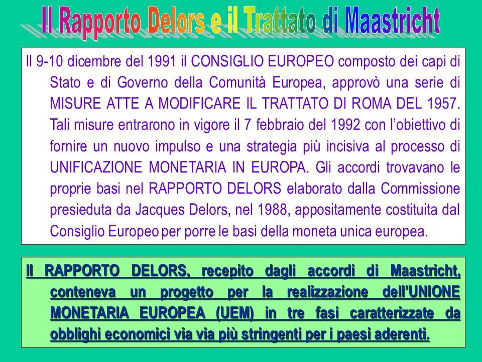 Il 9-10 dicembre del 1991 il CONSIGLIO EUROPEO composto dei capi di Stato e di Governo della Comunità Europea, approvò una serie di MISURE ATTE A MODI