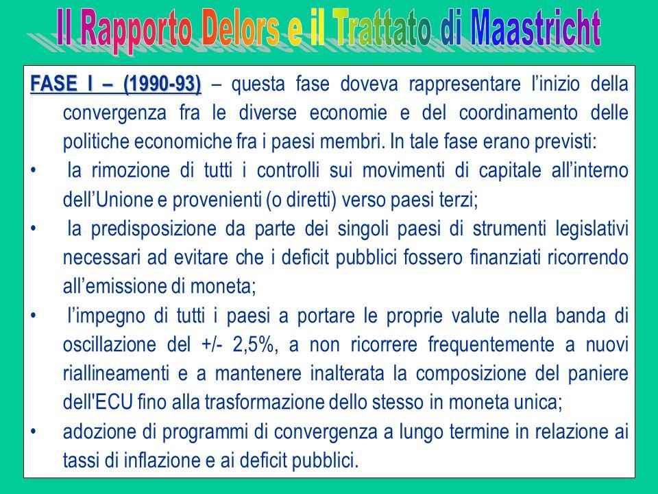 FASE I – (1990-93) FASE I – (1990-93) – questa fase doveva rappresentare linizio della convergenza fra le diverse economie e del coordinamento delle p