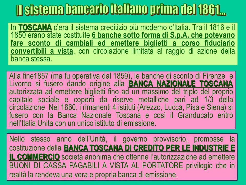 BANCA NAZIONALE TOSCANA Alla fine1857 (ma fu operativa dal 1859), le banche di sconto di Firenze e Livorno si fusero dando origine alla BANCA NAZIONAL