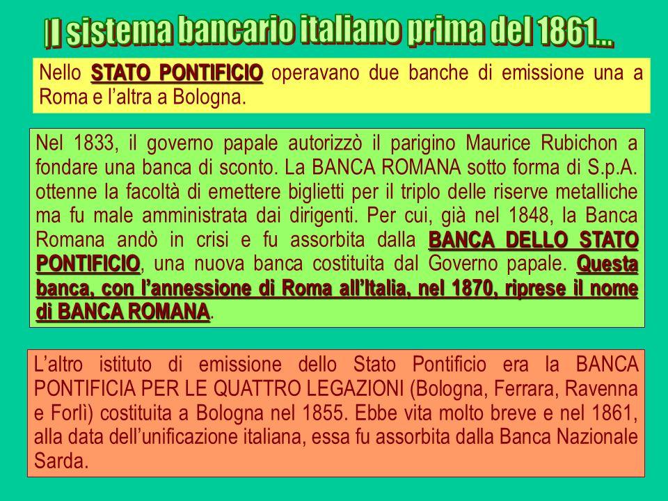 BANCA DELLO STATO PONTIFICIOQuesta banca, con lannessione di Roma allItalia, nel 1870, riprese il nome di BANCA ROMANA Nel 1833, il governo papale aut