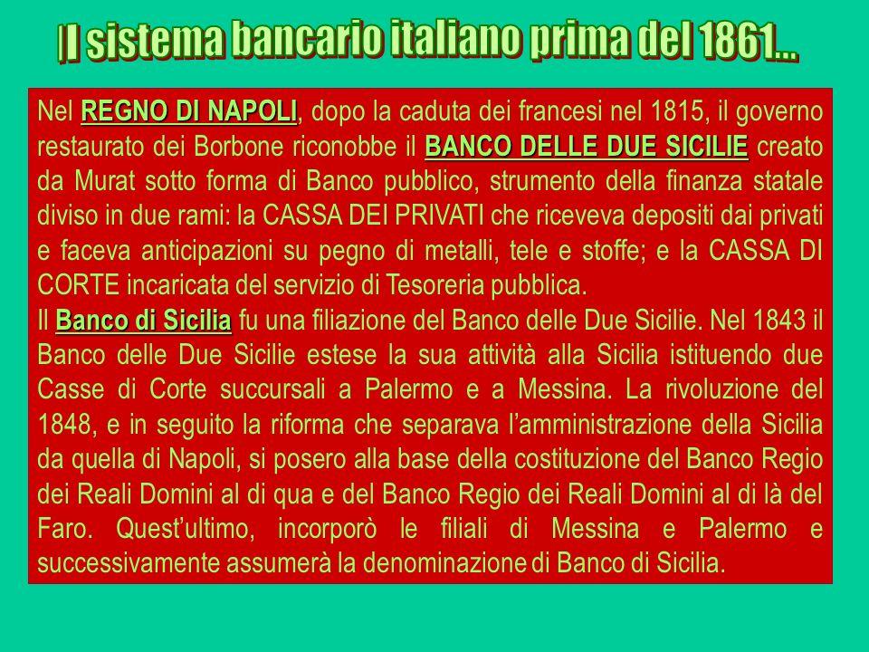 REGNO DI NAPOLI BANCO DELLE DUE SICILIE Nel REGNO DI NAPOLI, dopo la caduta dei francesi nel 1815, il governo restaurato dei Borbone riconobbe il BANC