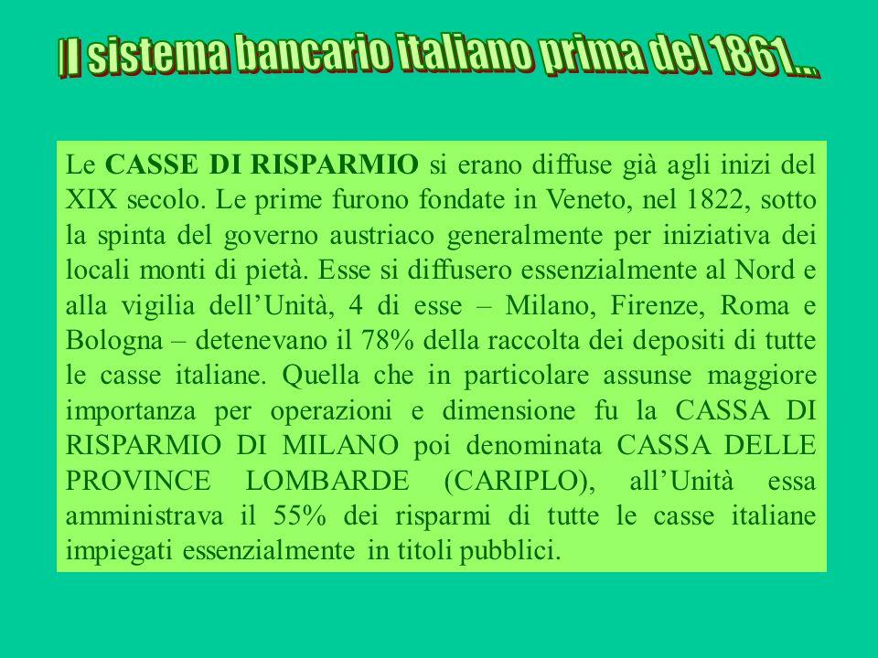 Le CASSE DI RISPARMIO si erano diffuse già agli inizi del XIX secolo. Le prime furono fondate in Veneto, nel 1822, sotto la spinta del governo austria