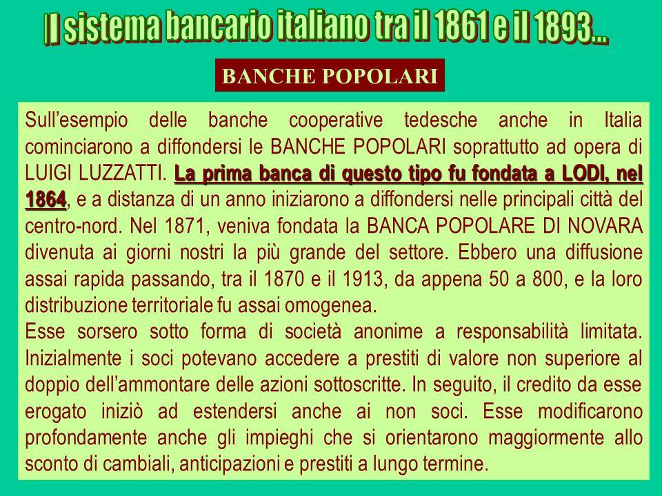 La prima banca di questo tipo fu fondata a LODI, nel 1864 Sullesempio delle banche cooperative tedesche anche in Italia cominciarono a diffondersi le