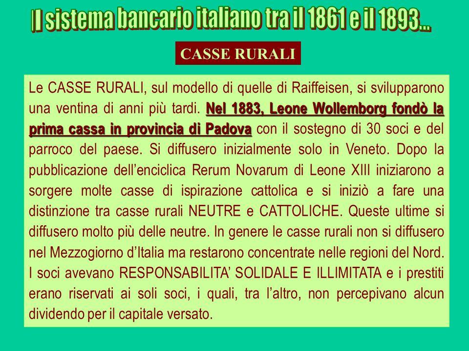 Nel 1883, Leone Wollemborg fondò la prima cassa in provincia di Padova Le CASSE RURALI, sul modello di quelle di Raiffeisen, si svilupparono una venti
