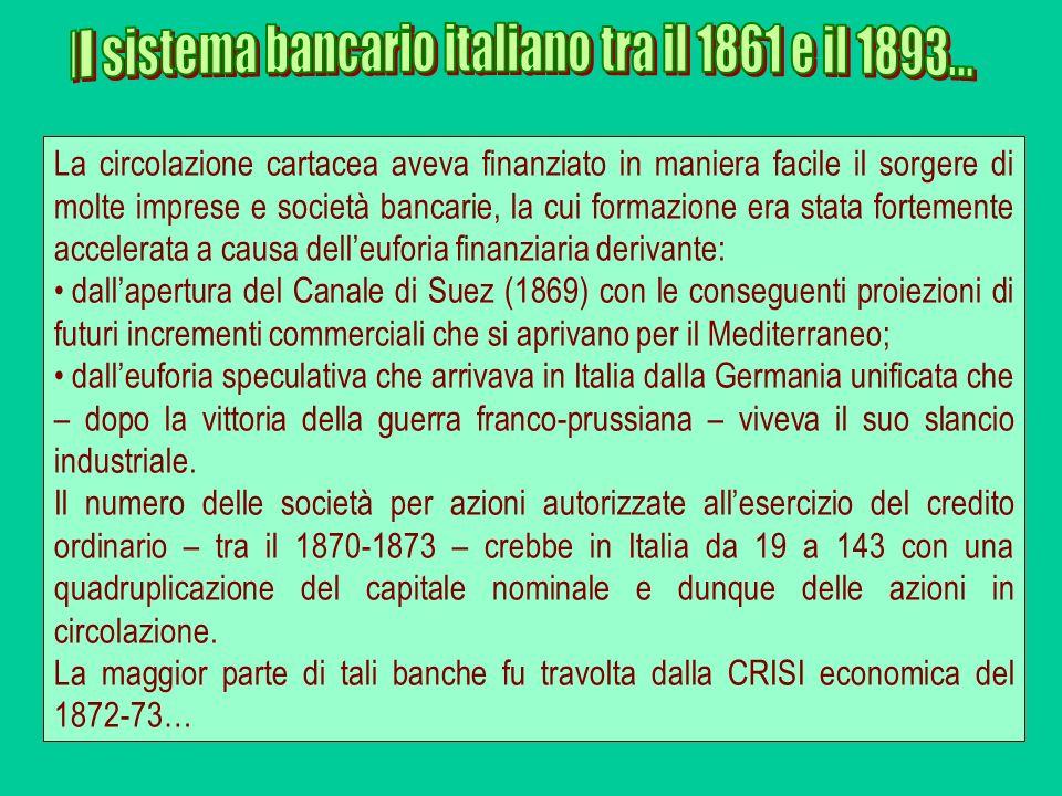 La circolazione cartacea aveva finanziato in maniera facile il sorgere di molte imprese e società bancarie, la cui formazione era stata fortemente acc