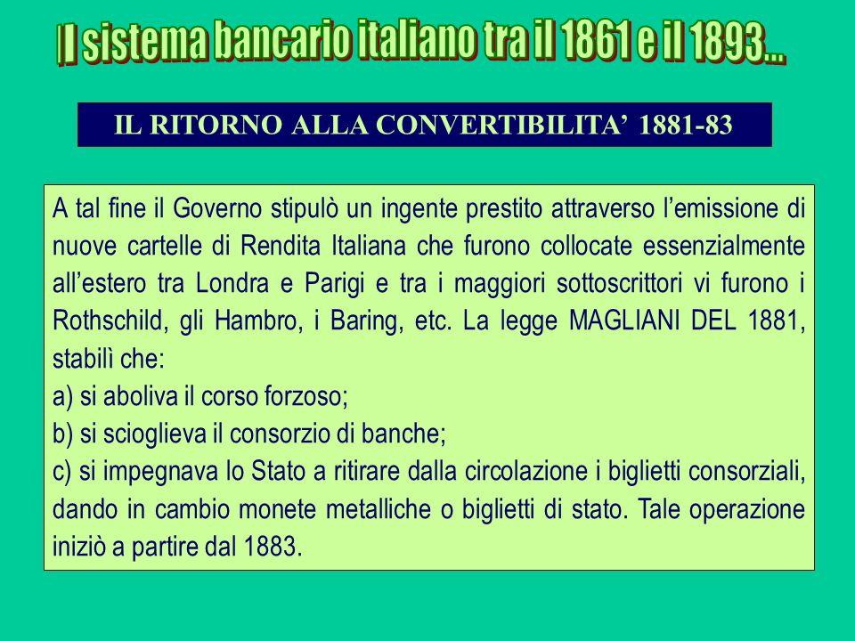 A tal fine il Governo stipulò un ingente prestito attraverso lemissione di nuove cartelle di Rendita Italiana che furono collocate essenzialmente alle