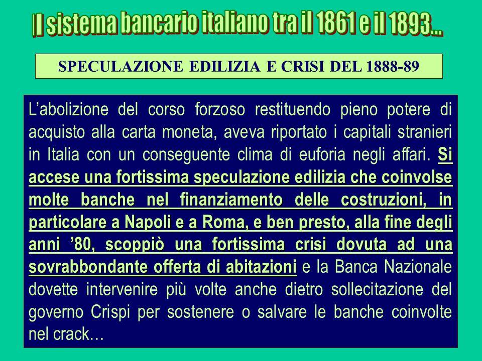 Si accese una fortissima speculazione edilizia che coinvolse molte banche nel finanziamento delle costruzioni, in particolare a Napoli e a Roma, e ben