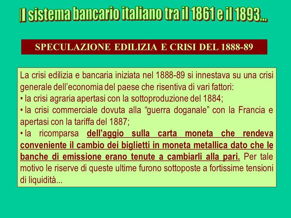 La crisi edilizia e bancaria iniziata nel 1888-89 si innestava su una crisi generale delleconomia del paese che risentiva di vari fattori: la crisi ag