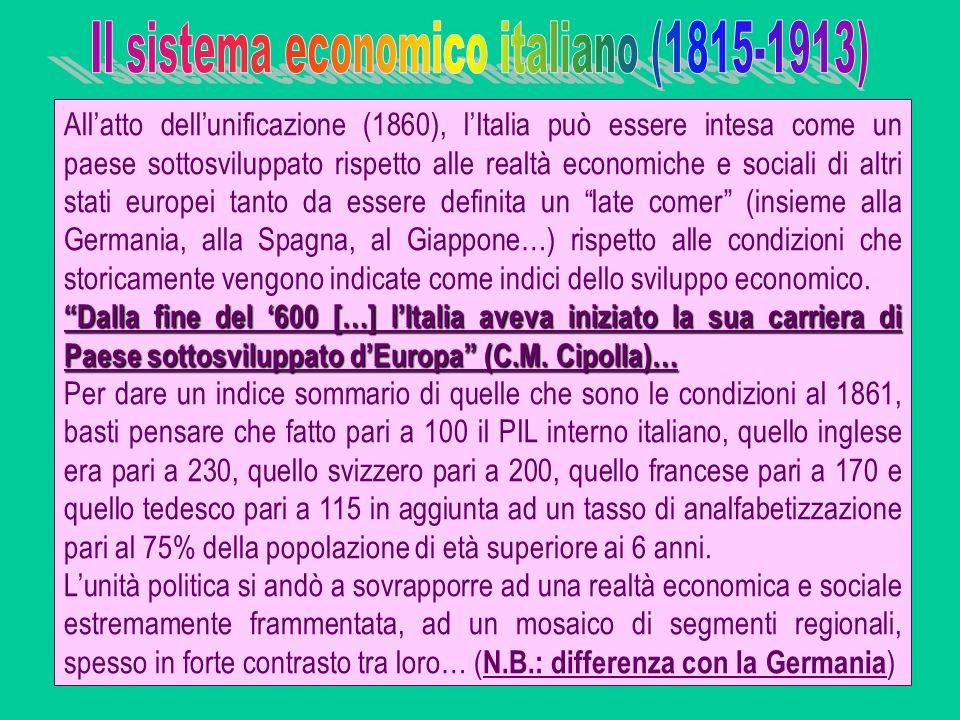Allatto dellunificazione (1860), lItalia può essere intesa come un paese sottosviluppato rispetto alle realtà economiche e sociali di altri stati euro