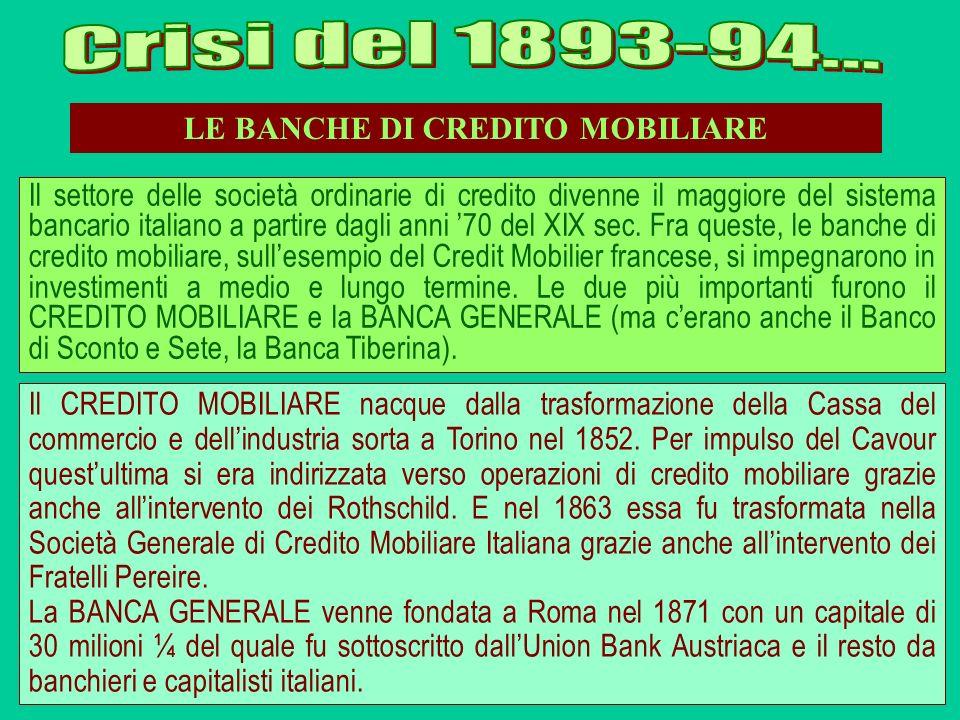 LE BANCHE DI CREDITO MOBILIARE Il settore delle società ordinarie di credito divenne il maggiore del sistema bancario italiano a partire dagli anni 70