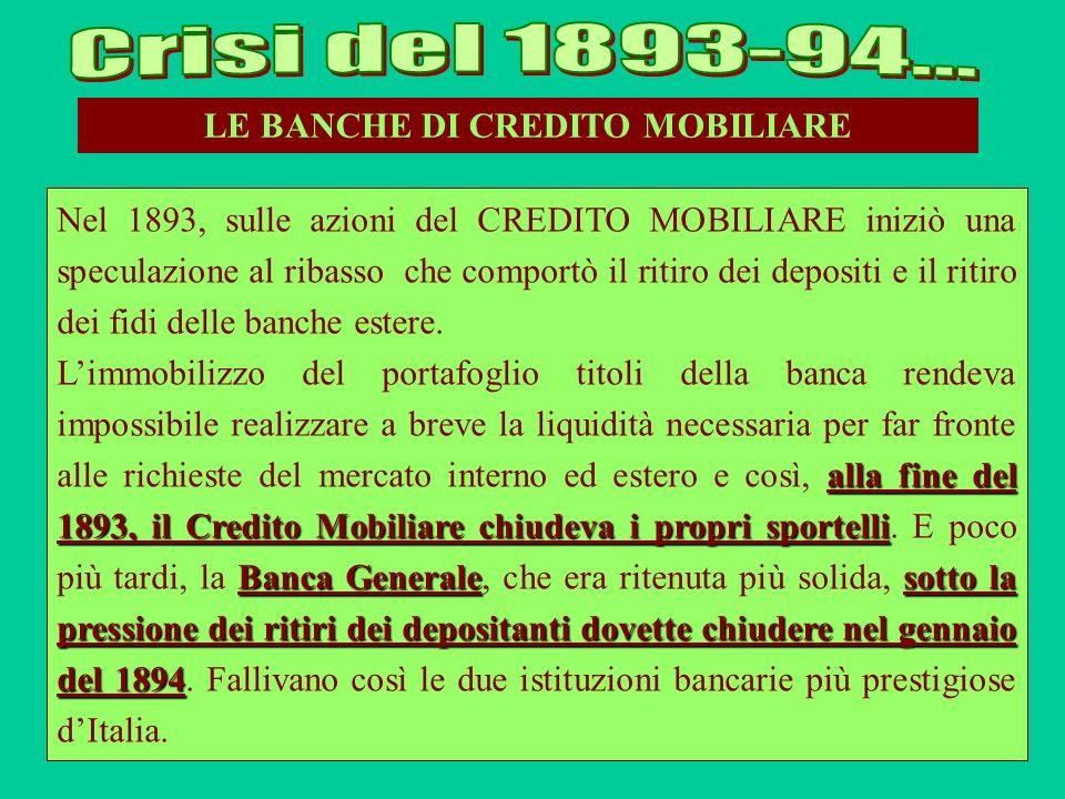 LE BANCHE DI CREDITO MOBILIARE Nel 1893, sulle azioni del CREDITO MOBILIARE iniziò una speculazione al ribasso che comportò il ritiro dei depositi e i