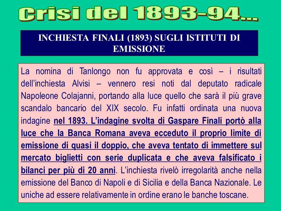 INCHIESTA FINALI (1893) SUGLI ISTITUTI DI EMISSIONE La nomina di Tanlongo non fu approvata e così – i risultati dellinchiesta Alvisi – vennero resi no