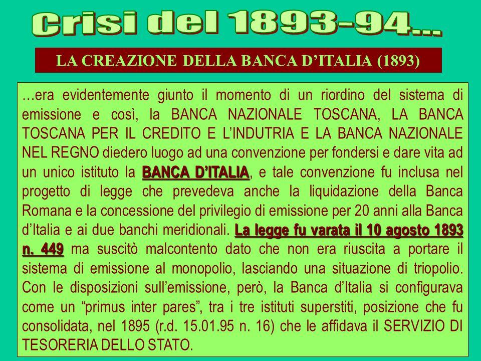 LA CREAZIONE DELLA BANCA DITALIA (1893) BANCA DITALIA La legge fu varata il 10 agosto 1893 n. 449 …era evidentemente giunto il momento di un riordino