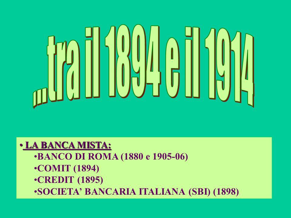 LA BANCA MISTA: LA BANCA MISTA: BANCO DI ROMA (1880 e 1905-06) COMIT (1894) CREDIT (1895) SOCIETA BANCARIA ITALIANA (SBI) (1898)
