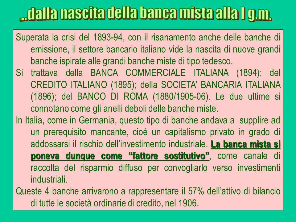 Superata la crisi del 1893-94, con il risanamento anche delle banche di emissione, il settore bancario italiano vide la nascita di nuove grandi banche