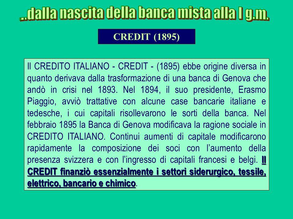 Il CREDIT finanziò essenzialmente i settori siderurgico, tessile, elettrico, bancario e chimico Il CREDITO ITALIANO - CREDIT - (1895) ebbe origine div