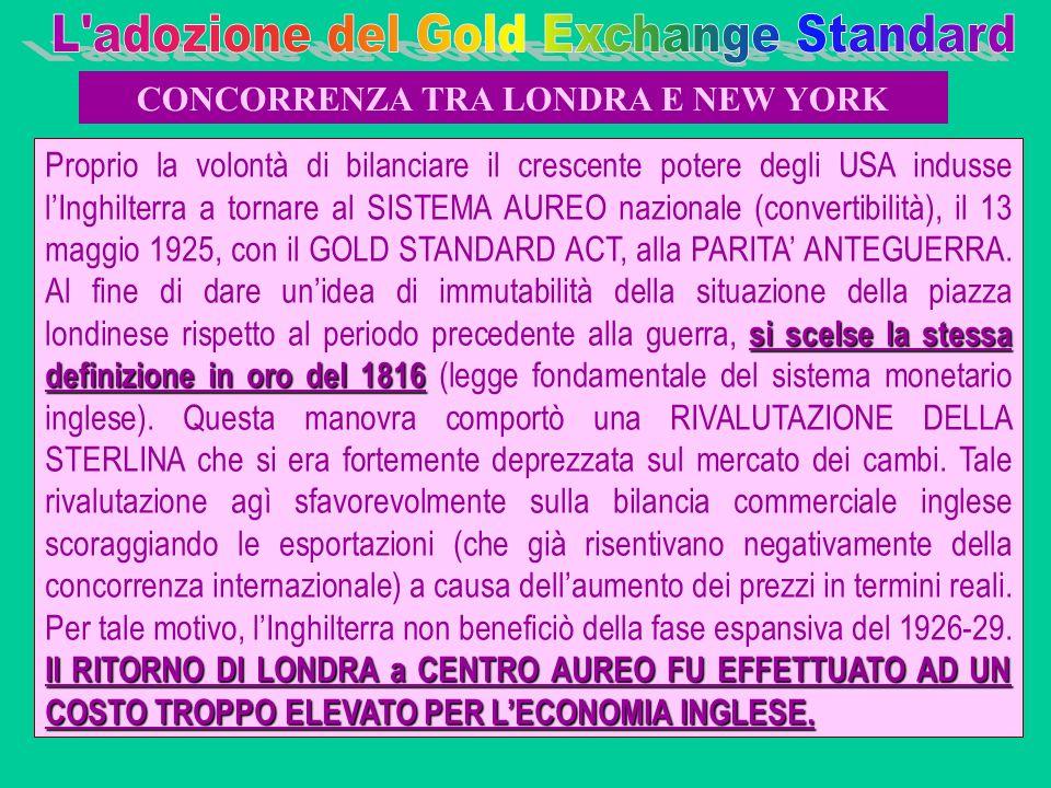 si scelse la stessa definizione in oro del 1816 Il RITORNO DI LONDRA a CENTRO AUREO FU EFFETTUATO AD UN COSTO TROPPO ELEVATO PER LECONOMIA INGLESE. Pr