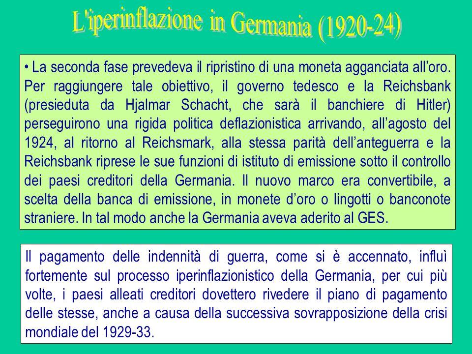 La seconda fase prevedeva il ripristino di una moneta agganciata alloro. Per raggiungere tale obiettivo, il governo tedesco e la Reichsbank (presiedut