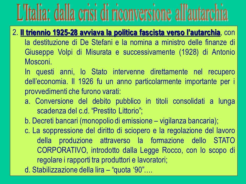 Il triennio 1925-28 avviava la politica fascista verso lautarchia 2. Il triennio 1925-28 avviava la politica fascista verso lautarchia, con la destitu