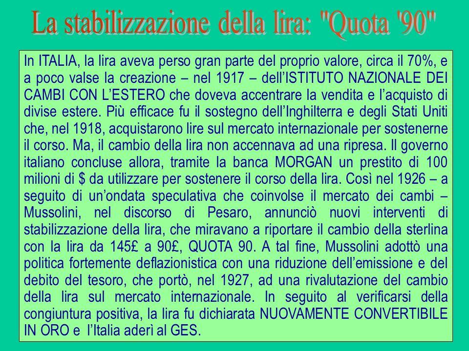 In ITALIA, la lira aveva perso gran parte del proprio valore, circa il 70%, e a poco valse la creazione – nel 1917 – dellISTITUTO NAZIONALE DEI CAMBI