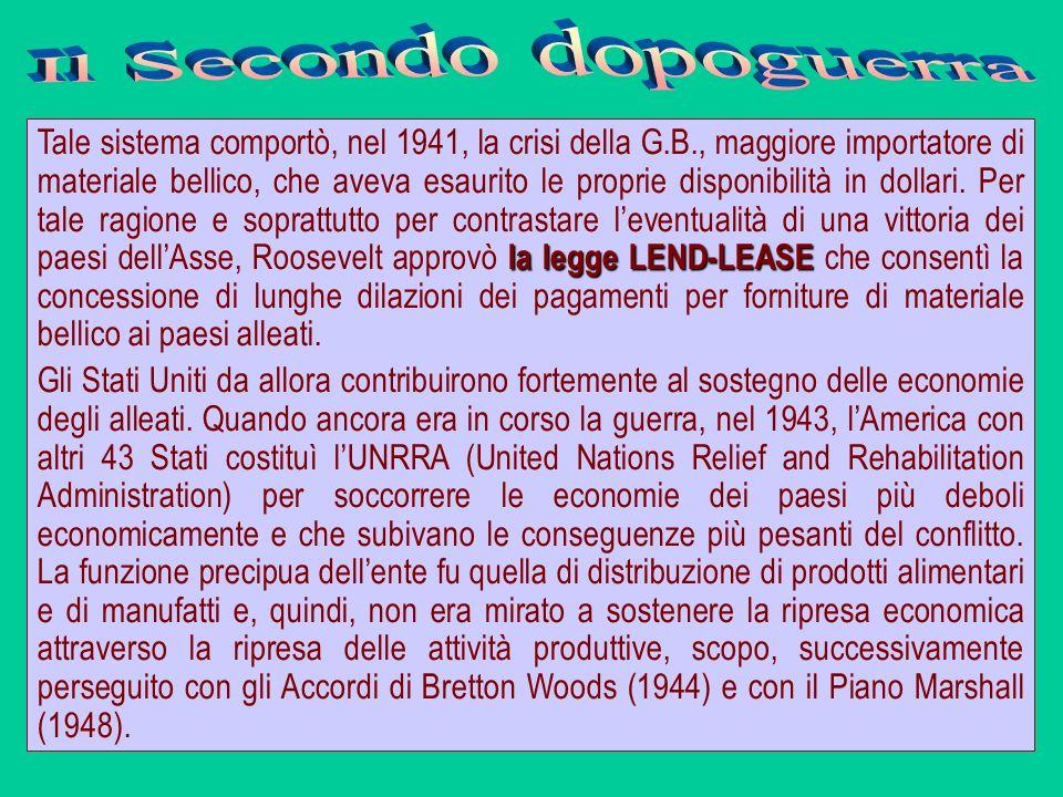 la legge LEND-LEASE Tale sistema comportò, nel 1941, la crisi della G.B., maggiore importatore di materiale bellico, che aveva esaurito le proprie dis