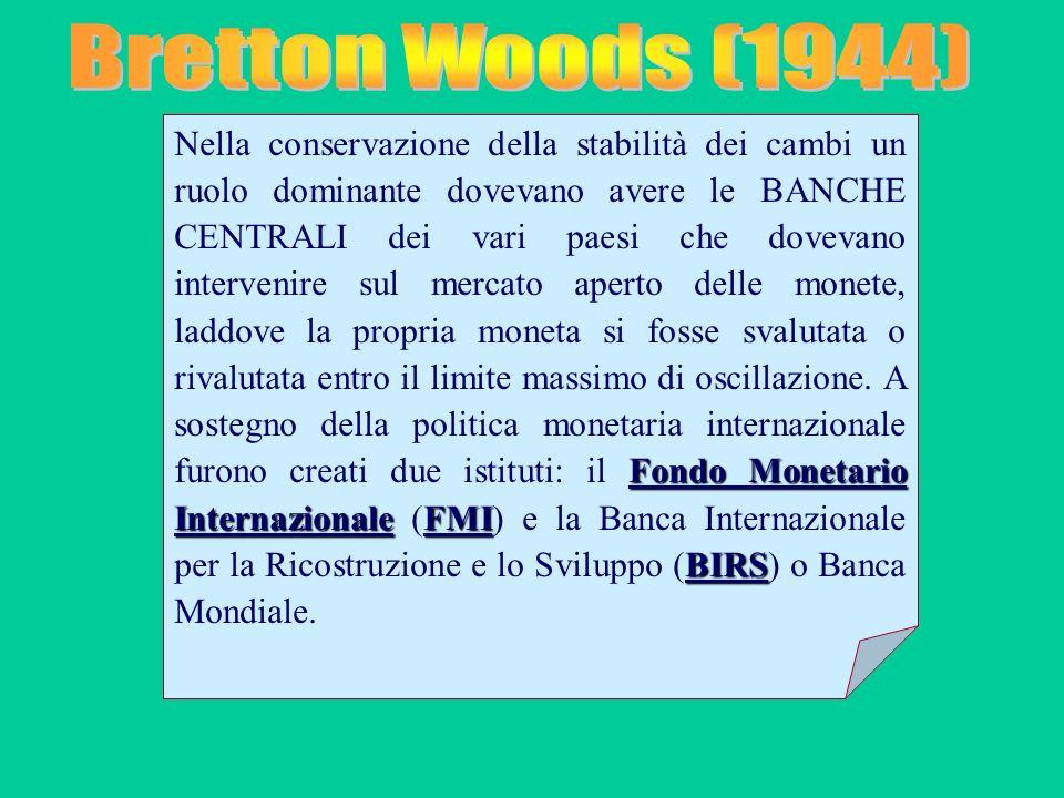 Fondo Monetario InternazionaleFMI BIRS Nella conservazione della stabilità dei cambi un ruolo dominante dovevano avere le BANCHE CENTRALI dei vari pae
