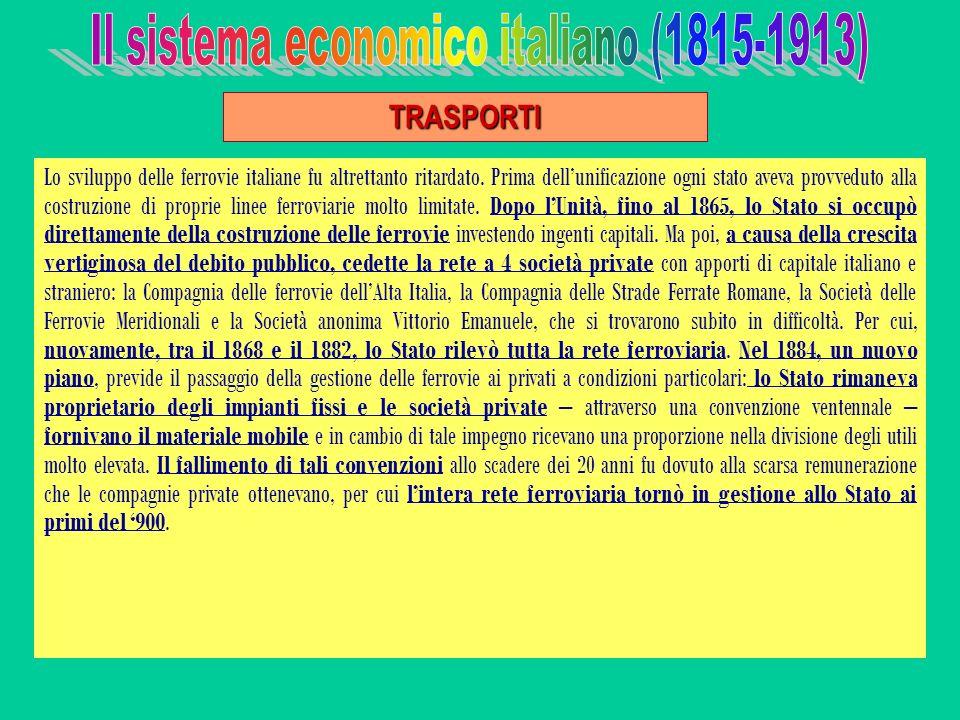 Lo sviluppo delle ferrovie italiane fu altrettanto ritardato. Prima dellunificazione ogni stato aveva provveduto alla costruzione di proprie linee fer