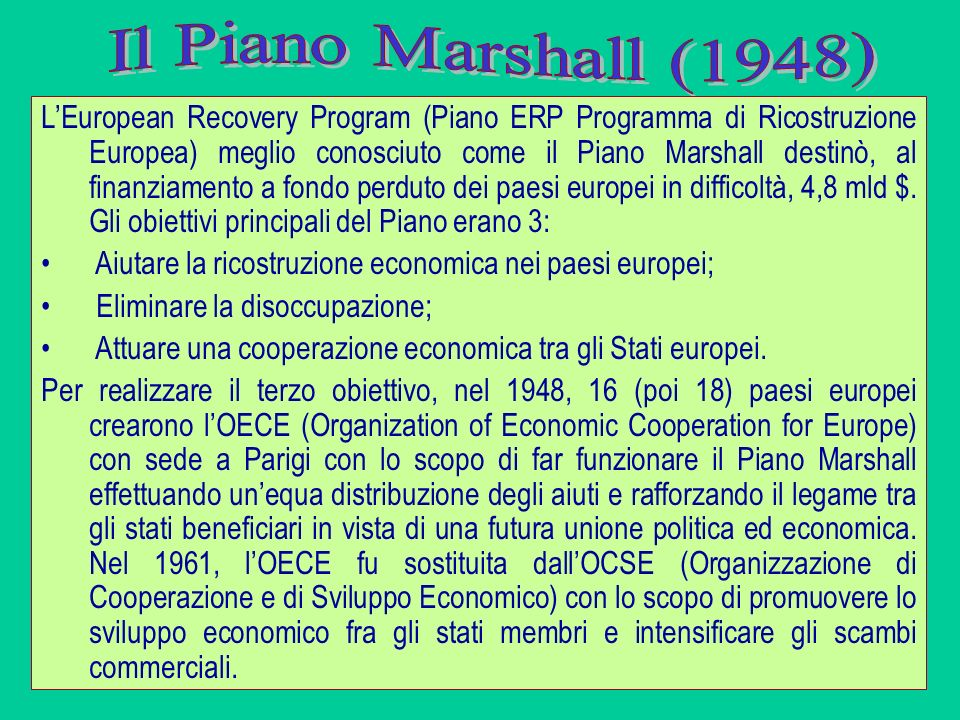 LEuropean Recovery Program (Piano ERP Programma di Ricostruzione Europea) meglio conosciuto come il Piano Marshall destinò, al finanziamento a fondo p