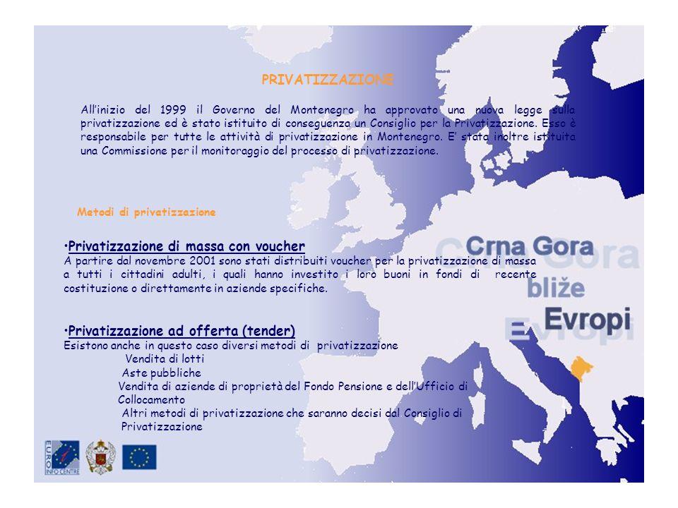 PRIVATIZZAZIONE Allinizio del 1999 il Governo del Montenegro ha approvato una nuova legge sulla privatizzazione ed è stato istituito di conseguenza un Consiglio per la Privatizzazione.