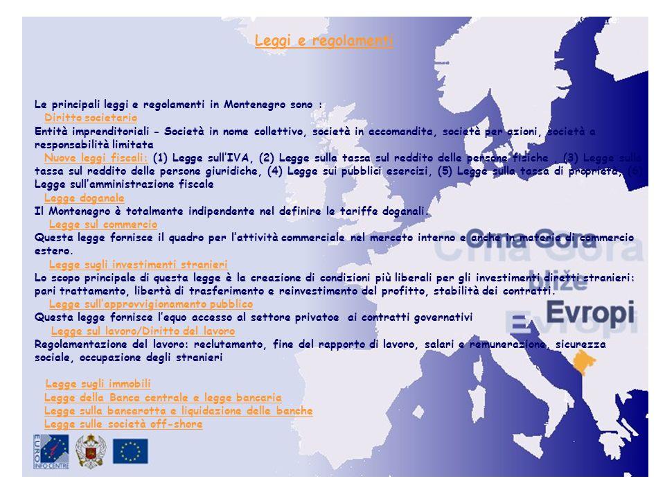 Leggi e regolamenti Le principali leggi e regolamenti in Montenegro sono : Diritto societario Entità imprenditoriali - Società in nome collettivo, società in accomandita, società per azioni, società a responsabilità limitata Nuove leggi fiscali: (1) Legge sullIVA, (2) Legge sulla tassa sul reddito delle persone fisiche, (3) Legge sulla tassa sul reddito delle persone giuridiche, (4) Legge sui pubblici esercizi, (5) Legge sulla tassa di proprietà, (6) Legge sullamministrazione fiscale Legge doganale Il Montenegro è totalmente indipendente nel definire le tariffe doganali.
