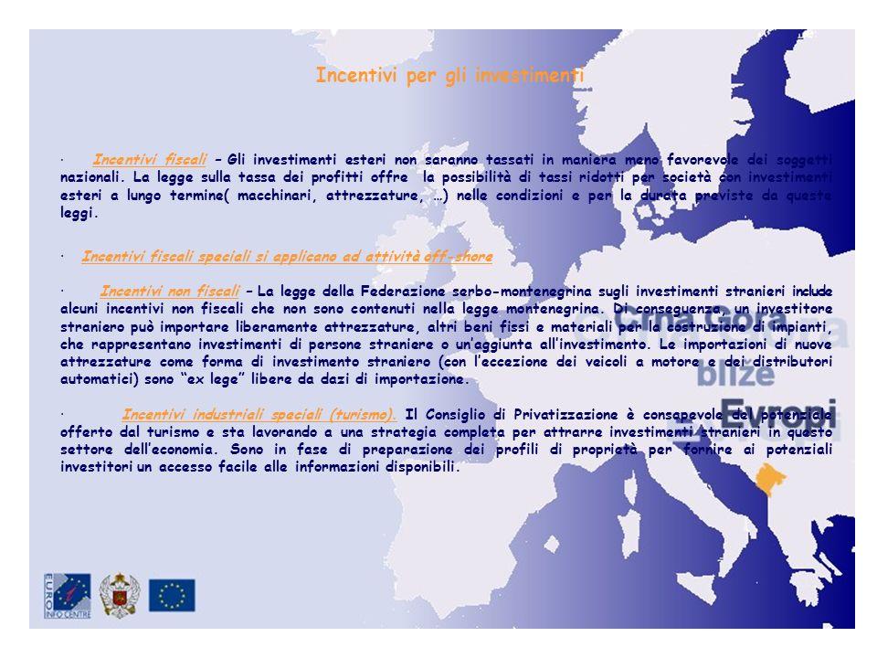 · Incentivi fiscali – Gli investimenti esteri non saranno tassati in maniera meno favorevole dei soggetti nazionali.