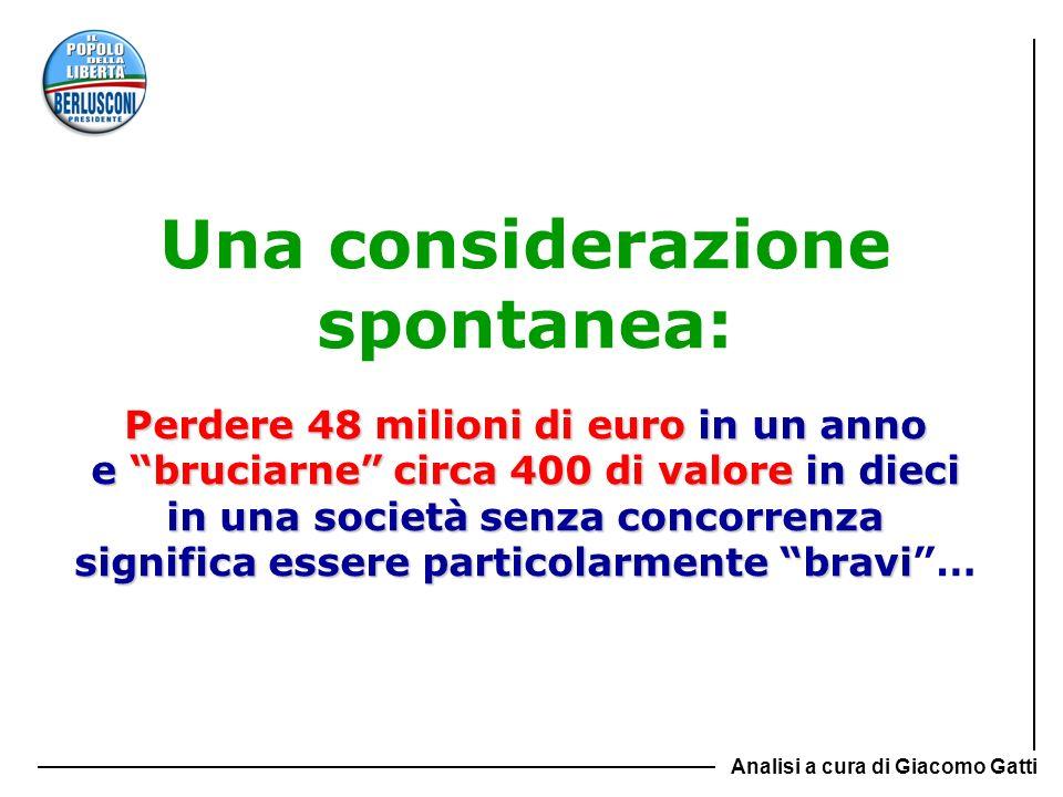 Perdere 48 milioni di euro in un anno e bruciarne circa 400 di valore in dieci in una società senza concorrenza significa essere particolarmente bravi