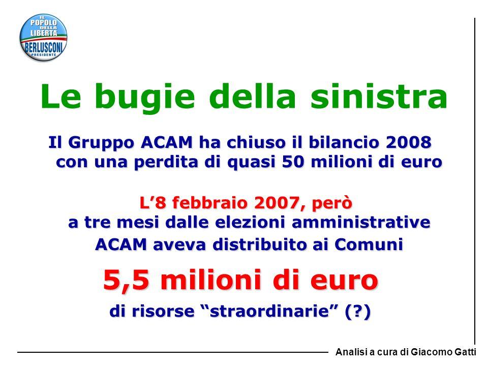 Le bugie della sinistra Il Gruppo ACAM ha chiuso il bilancio 2008 con una perdita di quasi 50 milioni di euro L8 febbraio 2007, però a tre mesi dalle