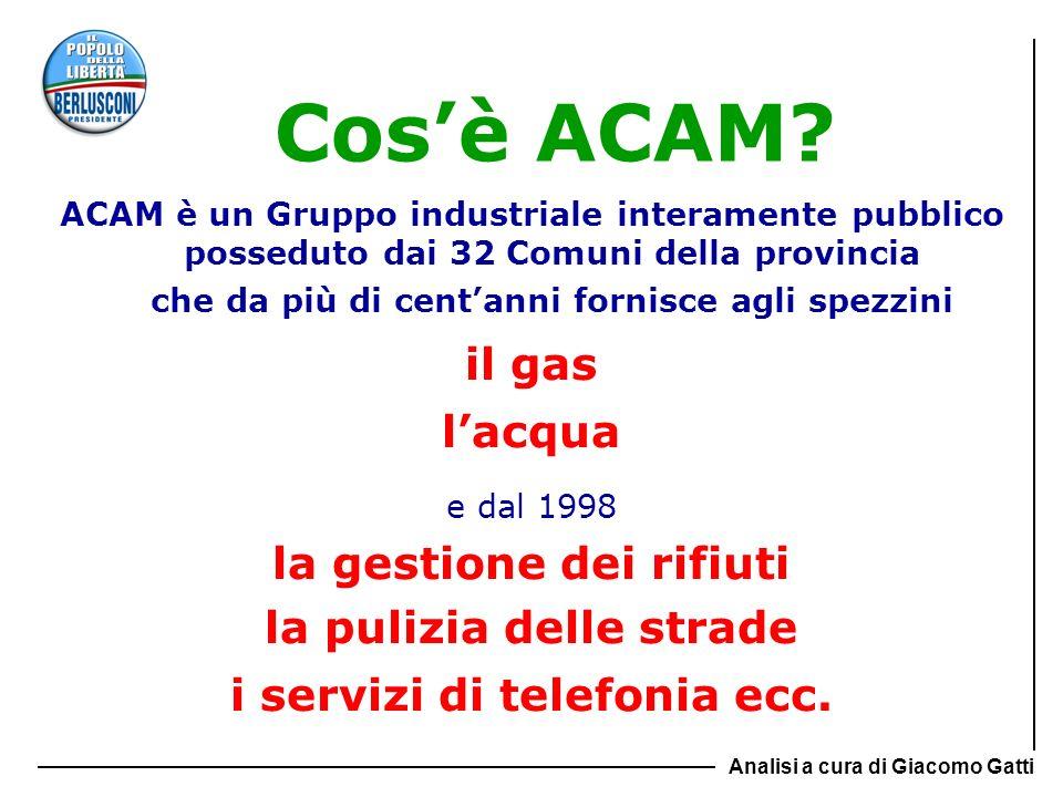 Nel 2006 la perdita del Gruppo ACAM è stata di 1.194.000 euro Nel 2007 è salita a 5.537.000 euro Nel 2008 ha sfiorato i 50 milioni I casi sono solo due: 1) chi ha gestito nel 2008 è un pazzo criminale 1) chi ha gestito nel 2008 è un pazzo criminale 2) i bilanci passati erano poco veritieri(…) 2) i bilanci passati erano poco veritieri(…) Come dicevano i latini terzium non datur… Analisi a cura di Giacomo Gatti