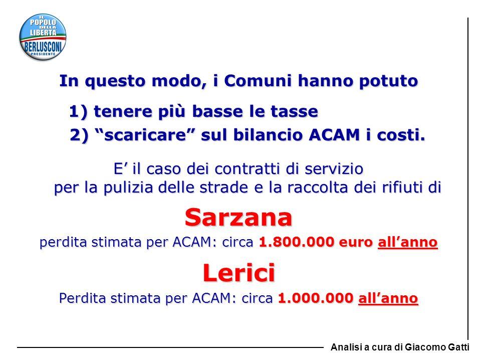 In questo modo, i Comuni hanno potuto 1) tenere più basse le tasse 1) tenere più basse le tasse 2) scaricare sul bilancio ACAM i costi. 2) scaricare s