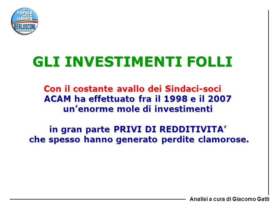GLI INVESTIMENTI FOLLI Con il costante avallo dei Sindaci-soci ACAM ha effettuato fra il 1998 e il 2007 unenorme mole di investimenti in gran parte PR