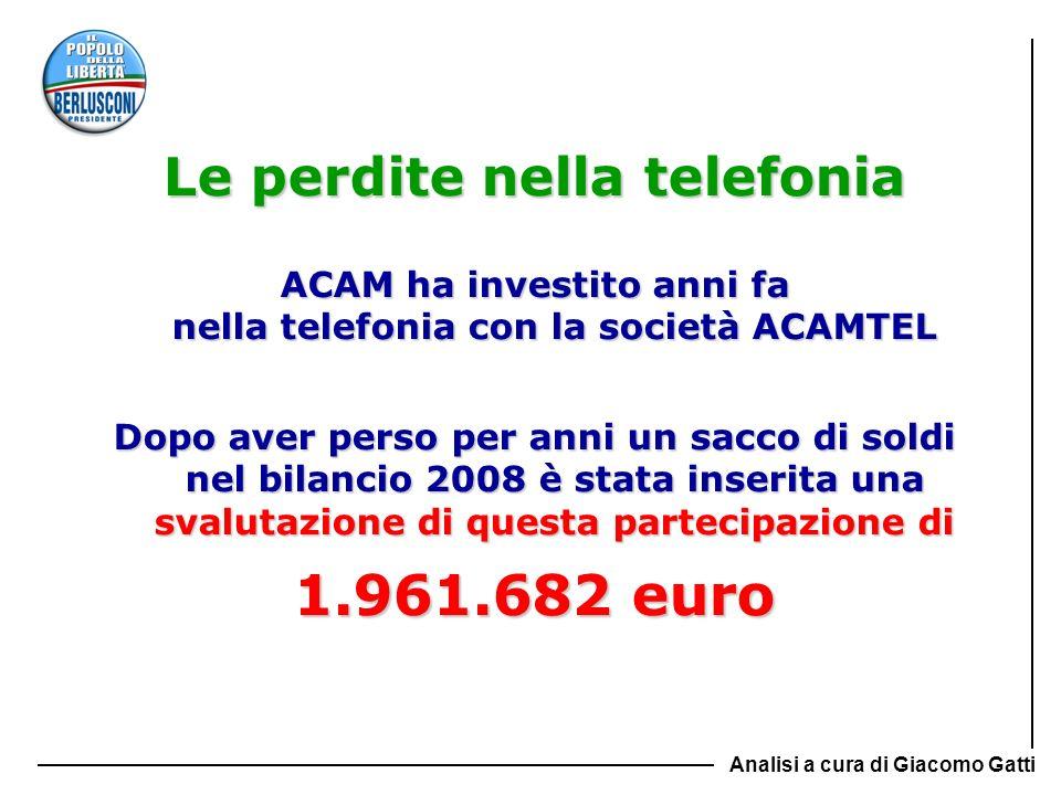 Le perdite nella telefonia ACAM ha investito anni fa nella telefonia con la società ACAMTEL Dopo aver perso per anni un sacco di soldi nel bilancio 20