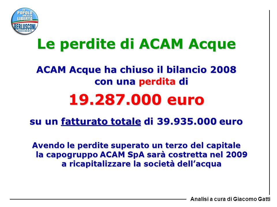Le perdite di ACAM Acque ACAM Acque ha chiuso il bilancio 2008 con una perdita di 19.287.000 euro su un fatturato totale di 39.935.000 euro Avendo le