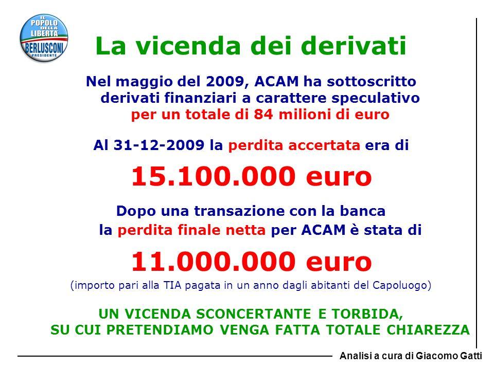 La vicenda dei derivati Nel maggio del 2009, ACAM ha sottoscritto derivati finanziari a carattere speculativo per un totale di 84 milioni di euro Al 3