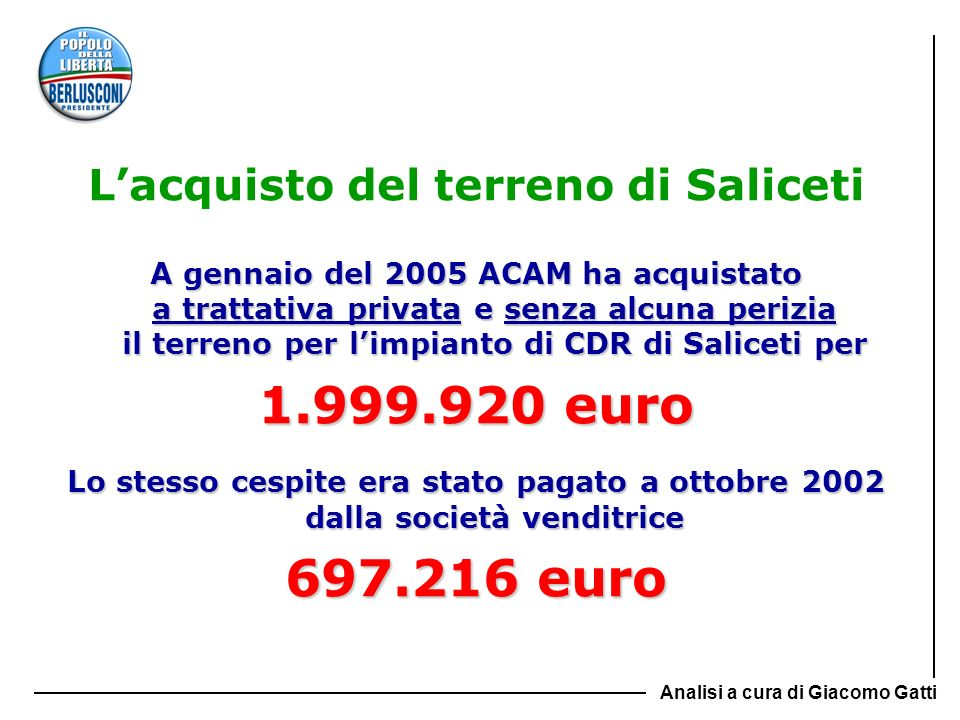 Lacquisto del terreno di Saliceti A gennaio del 2005 ACAM ha acquistato a trattativa privata e senza alcuna perizia il terreno per limpianto di CDR di
