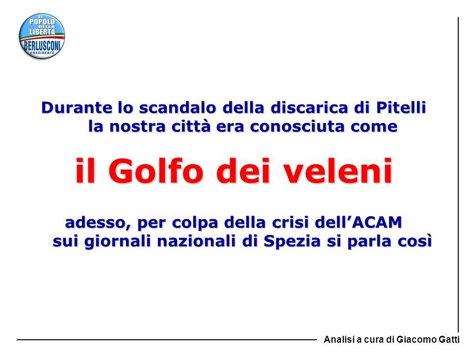 Comparazione dei risultati Anno 2008 Risultati consolidati della gestione HERA (Bologna): + 110.264.000 euro A2A (Milano-Brescia): + 316.000.000 euro IRIDE (Genova-Torino): + 114.644.000 euro ACEA (Roma): + 186.285.000 euro ENIA (Parma, RE, PC): + 35.073.000 euro ACAM (La Spezia): - 46.763.000 euro Fonte: Bilanci consolidati di Gruppo - esercizio 2008 Analisi a cura di Giacomo Gatti