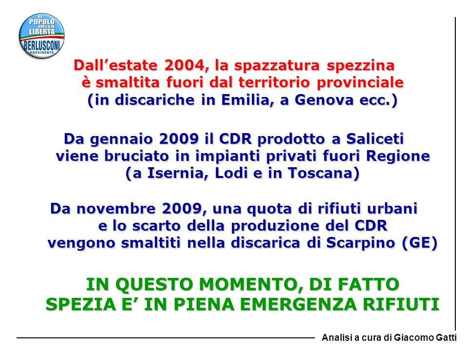 Dallestate 2004, la spazzatura spezzina è smaltita fuori dal territorio provinciale (in discariche in Emilia, a Genova ecc.) Da gennaio 2009 il CDR pr