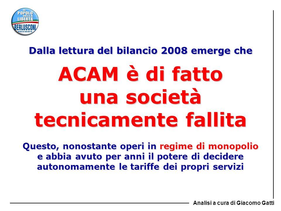 Dalla lettura del bilancio 2008 emerge che ACAM è di fatto una società tecnicamente fallita Questo, nonostante operi in regime di monopolio e abbia av