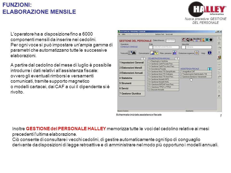 FUNZIONI: ELABORAZIONE MENSILE Schermata iniziale assistenza fiscale Nuova procedura GESTIONE DEL PERSONALE L'operatore ha a disposizione fino a 6000