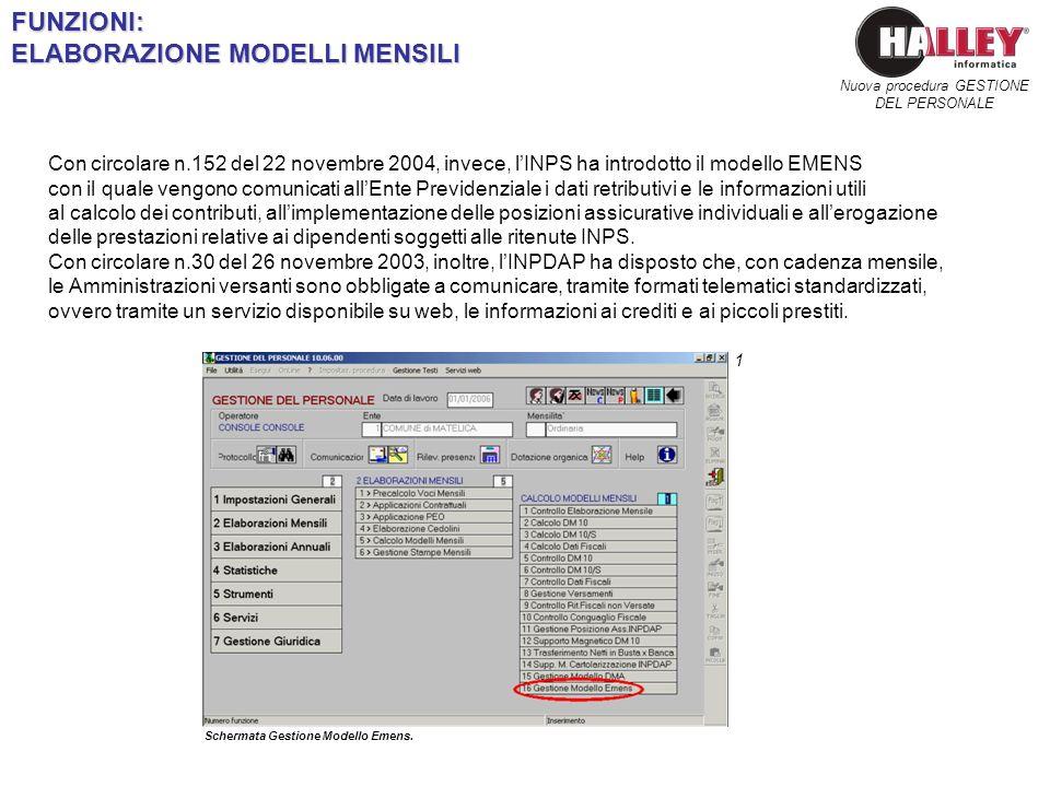 Schermata Gestione Modello Emens. Nuova procedura GESTIONE DEL PERSONALEFUNZIONI: ELABORAZIONE MODELLI MENSILI 1 Con circolare n.152 del 22 novembre 2
