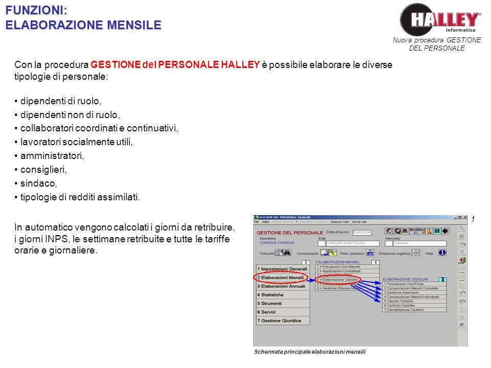 FUNZIONI: ELABORAZIONE MENSILE Schermata principale elaborazioni mensili 1 Nuova procedura GESTIONE DEL PERSONALE Con la procedura GESTIONE del PERSON